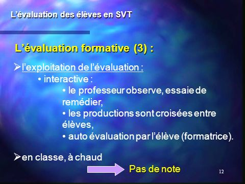L'évaluation formative (3) :