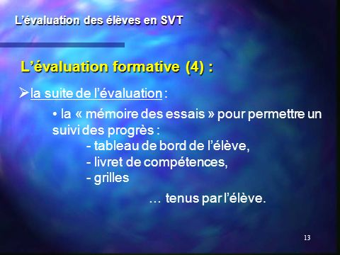 L'évaluation formative (4) :
