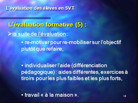 L'évaluation formative (5) :