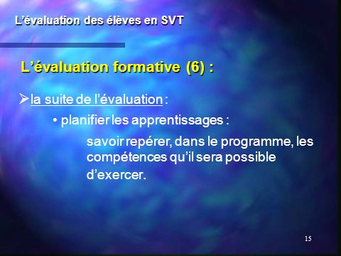 L'évaluation formative (6) :