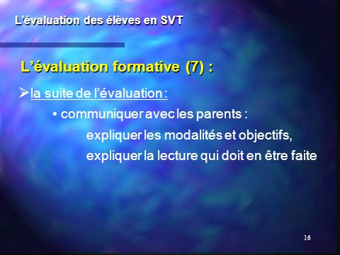 L'évaluation formative (7) :