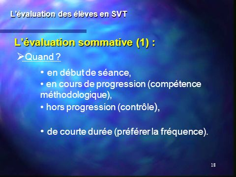 L'évaluation sommative (1) :