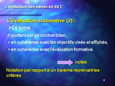 L'évaluation sommative (2) :