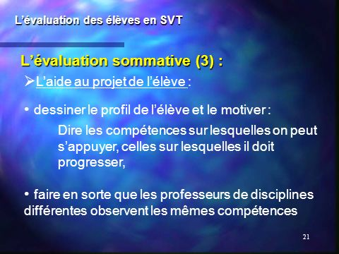 L'évaluation sommative (3) :