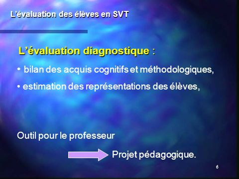 L'évaluation diagnostique :