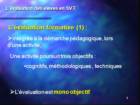 L'évaluation formative (1) :