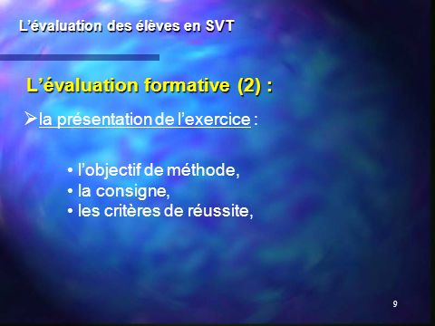 L'évaluation formative (2) :