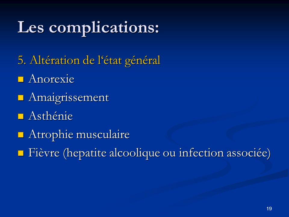 Les complications: 5. Altération de l'état général Anorexie