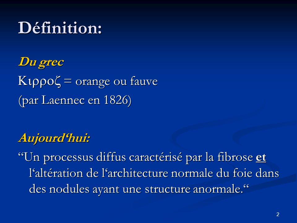 Définition: Du grec Kirroz = orange ou fauve (par Laennec en 1826)