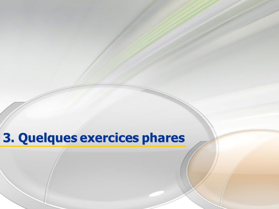 3. Quelques exercices phares