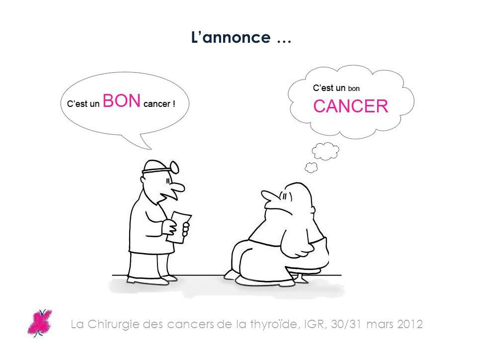 L'annonce … La Chirurgie des cancers de la thyroïde, IGR, 30/31 mars 2012