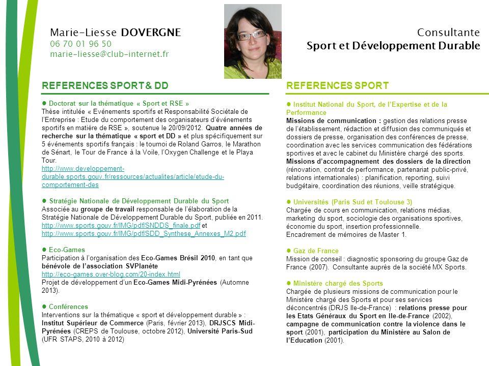 Marie-Liesse DOVERGNE Consultante Sport et Développement Durable