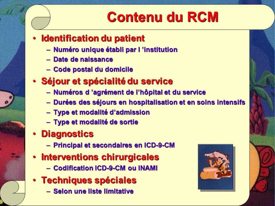 Contenu du RCM Identification du patient