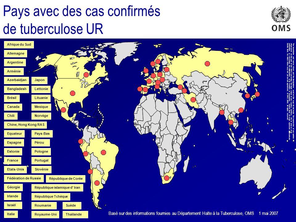 Pays avec des cas confirmés de tuberculose UR