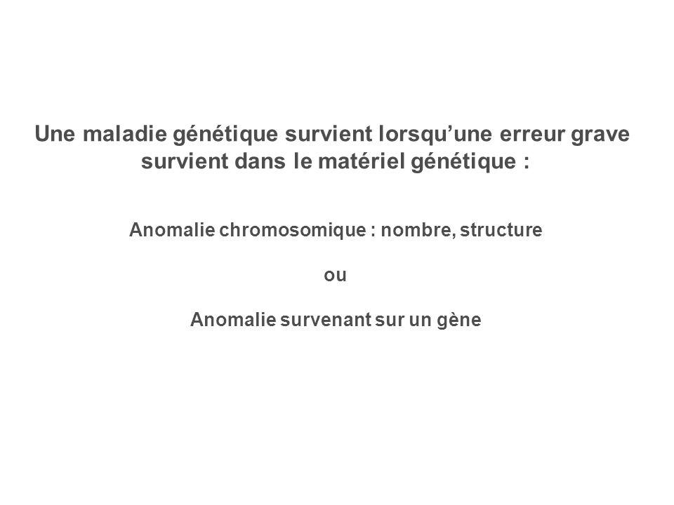 Une maladie génétique survient lorsqu'une erreur grave