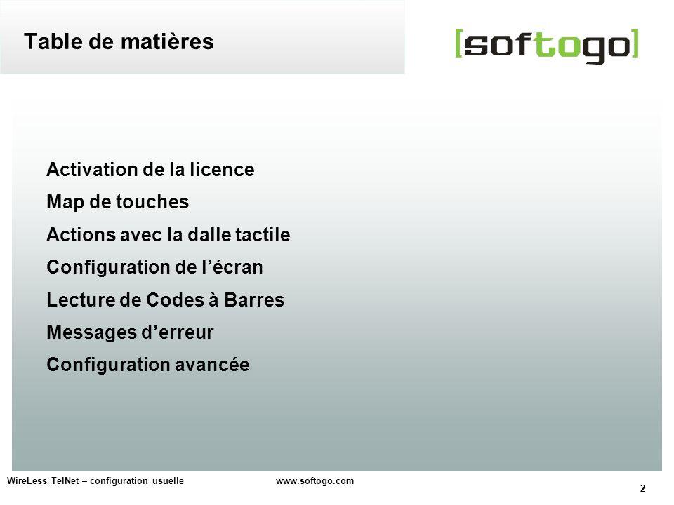 Table de matières Activation de la licence Map de touches