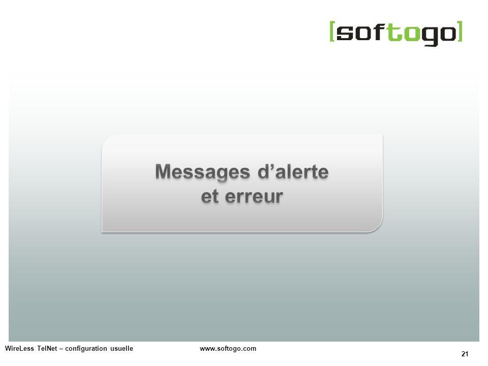 Messages d'alerte et erreur