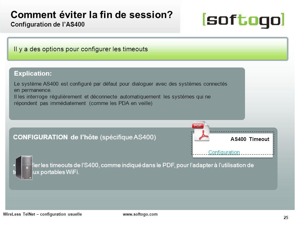 Comment éviter la fin de session Configuration de l'AS400