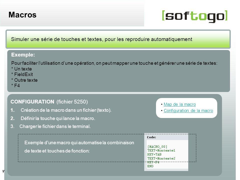 Macros Simuler une série de touches et textes, pour les reproduire automatiquement. Exemple: