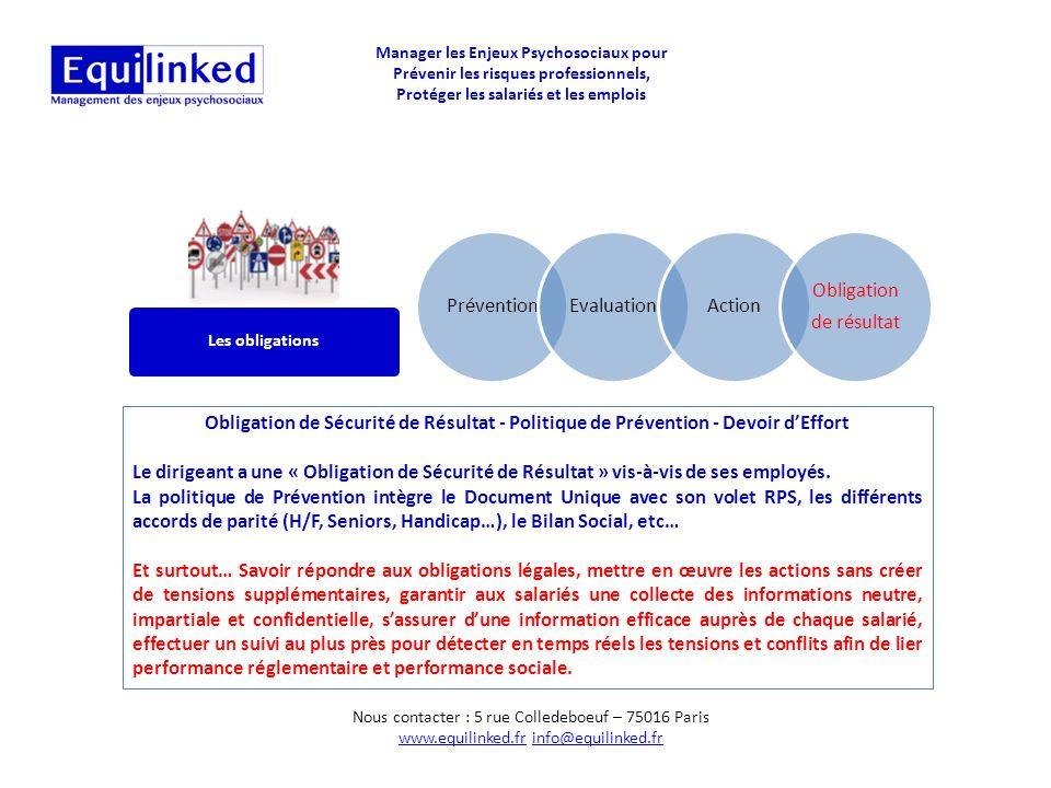 Prévention Evaluation Action Obligation de résultat