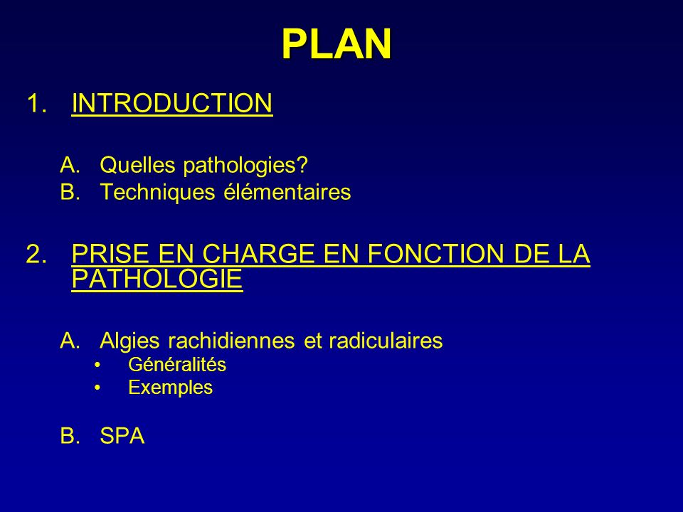 PLAN INTRODUCTION PRISE EN CHARGE EN FONCTION DE LA PATHOLOGIE
