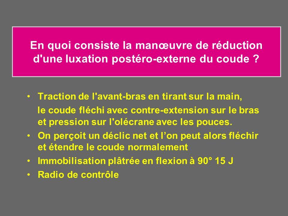 En quoi consiste la manœuvre de réduction d une luxation postéro-externe du coude