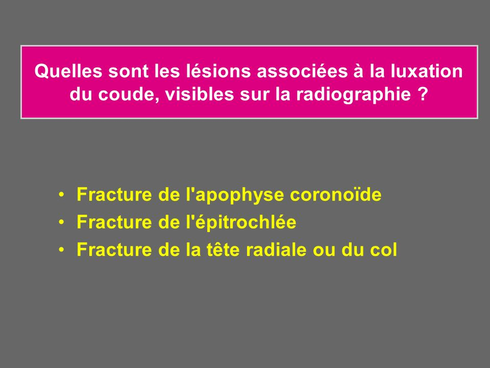 Quelles sont les lésions associées à la luxation du coude, visibles sur la radiographie