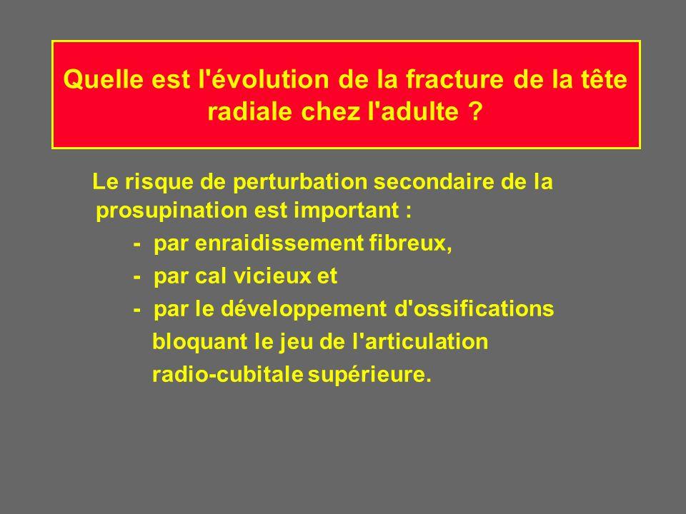 Quelle est l évolution de la fracture de la tête radiale chez l adulte
