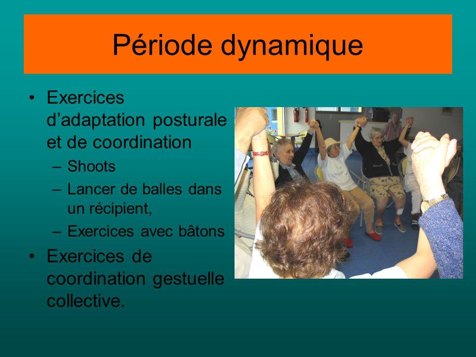 Période dynamique Exercices d'adaptation posturale et de coordination