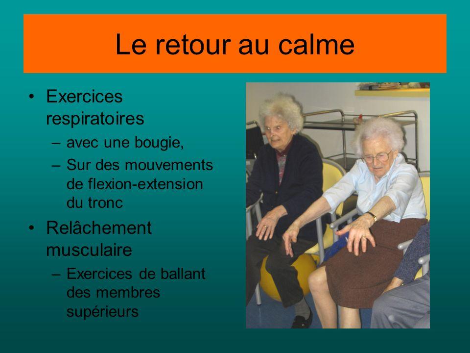 Le retour au calme Exercices respiratoires Relâchement musculaire