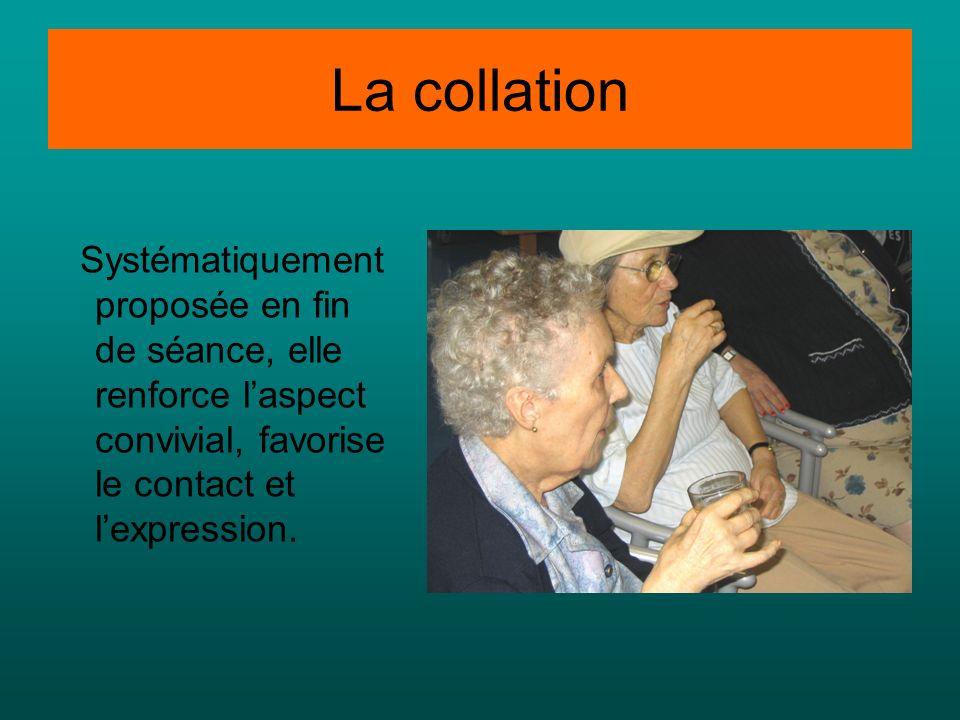 La collation Systématiquement proposée en fin de séance, elle renforce l'aspect convivial, favorise le contact et l'expression.