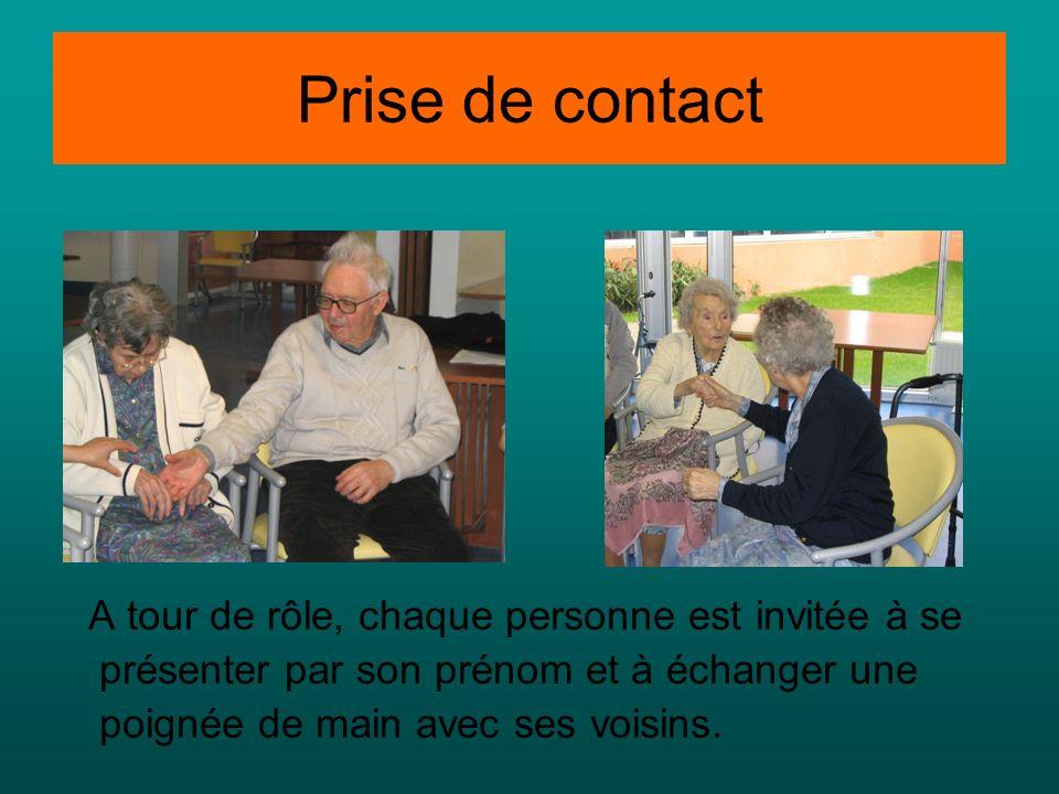Prise de contact A tour de rôle, chaque personne est invitée à se