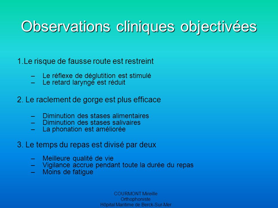 Observations cliniques objectivées