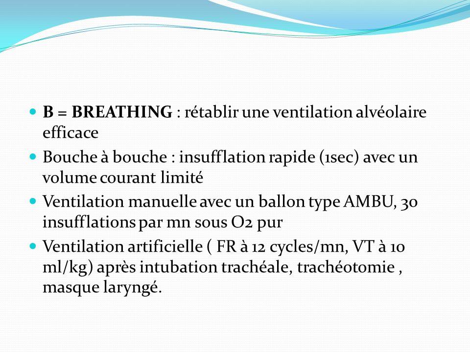 B = BREATHING : rétablir une ventilation alvéolaire efficace