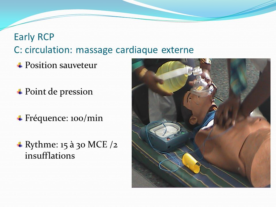 Early RCP C: circulation: massage cardiaque externe