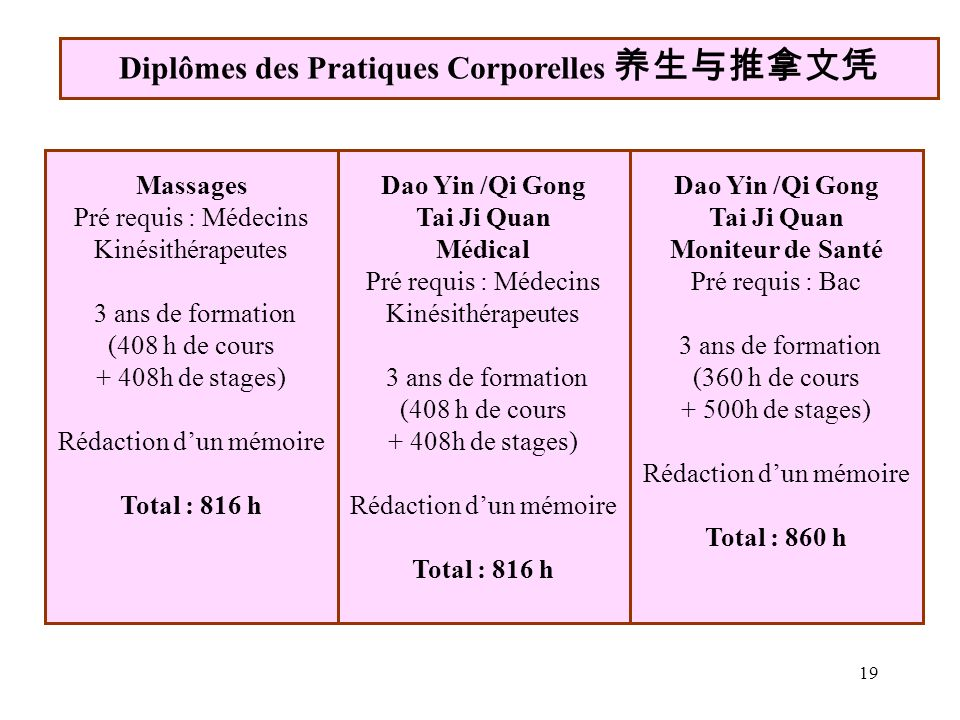 Diplômes des Pratiques Corporelles 养生与推拿文凭