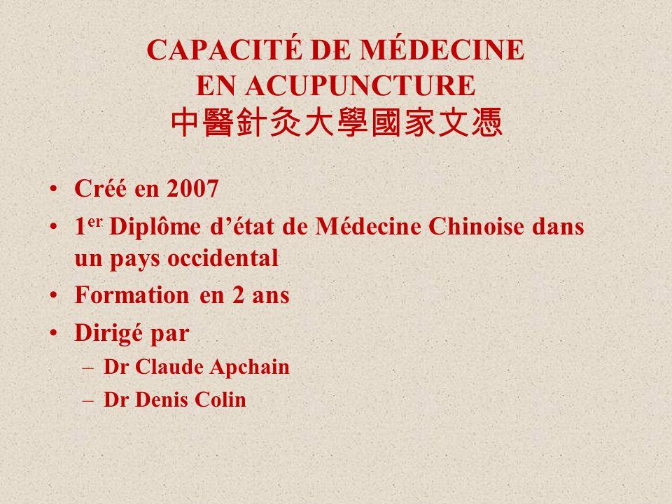 CAPACITÉ DE MÉDECINE EN ACUPUNCTURE 中醫針灸大學國家文憑
