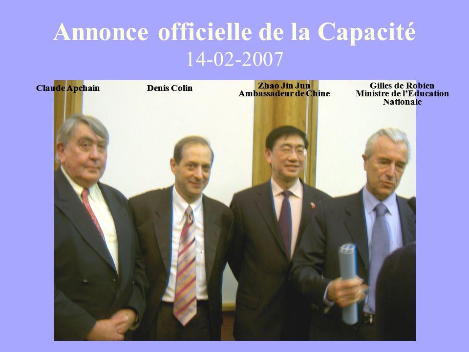 Annonce officielle de la Capacité 14-02-2007