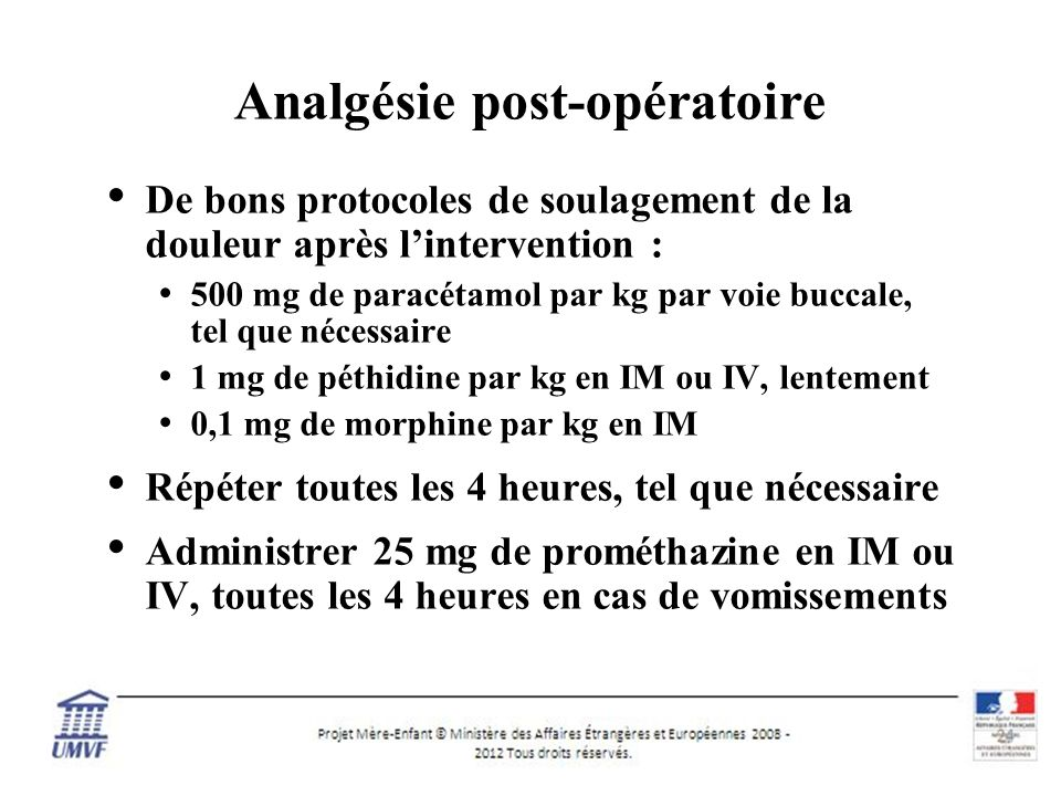 Analgésie post-opératoire