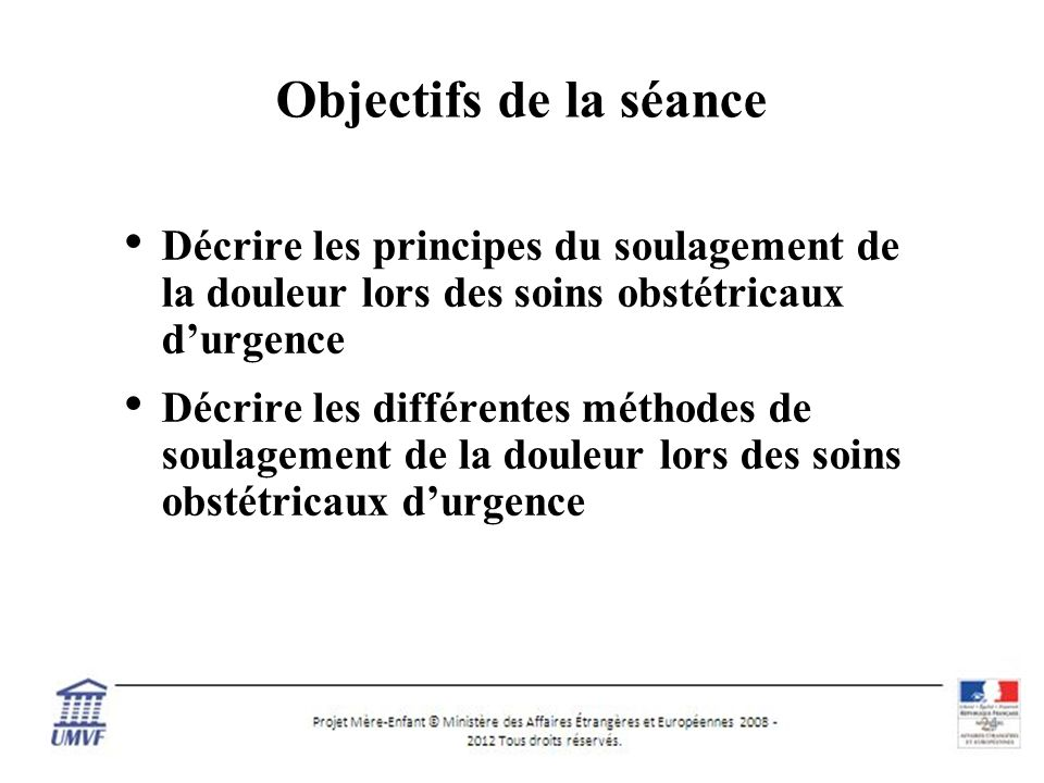Objectifs de la séance Décrire les principes du soulagement de la douleur lors des soins obstétricaux d'urgence.