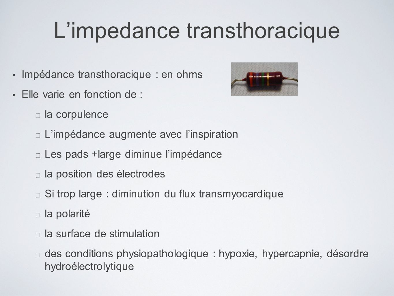 L'impedance transthoracique