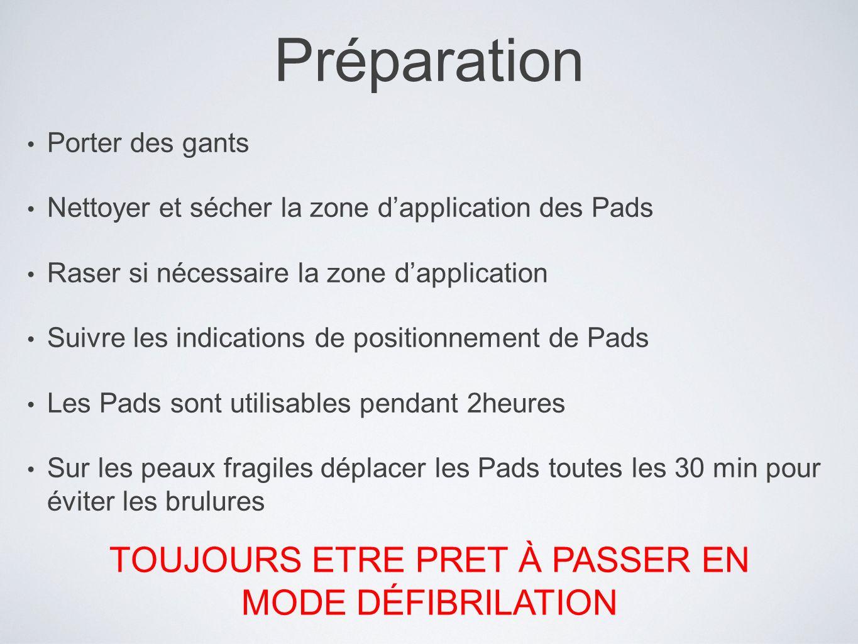 TOUJOURS ETRE PRET À PASSER EN MODE DÉFIBRILATION