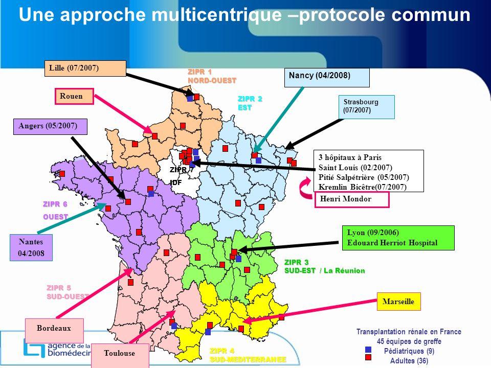 Une approche multicentrique –protocole commun