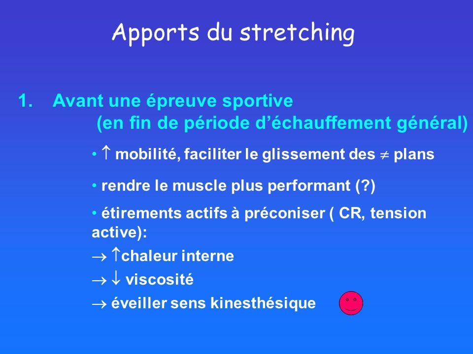 Apports du stretching 1. Avant une épreuve sportive