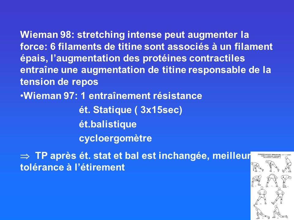 Wieman 98: stretching intense peut augmenter la force: 6 filaments de titine sont associés à un filament épais, l'augmentation des protéines contractiles entraîne une augmentation de titine responsable de la tension de repos