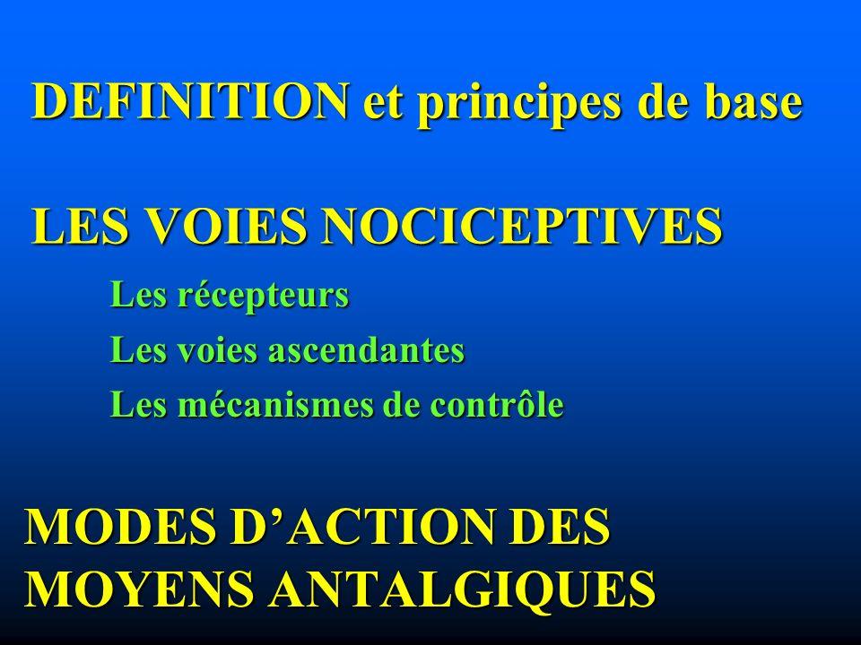 DEFINITION et principes de base LES VOIES NOCICEPTIVES