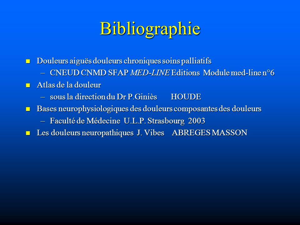 Bibliographie Douleurs aiguës douleurs chroniques soins palliatifs
