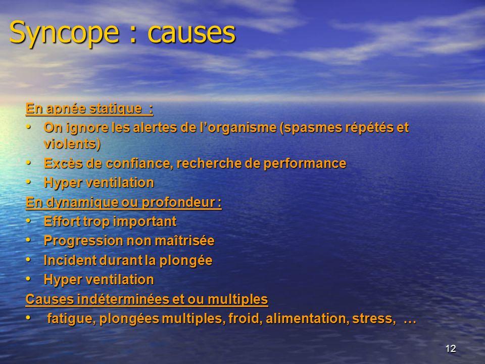 Syncope : causes En apnée statique :