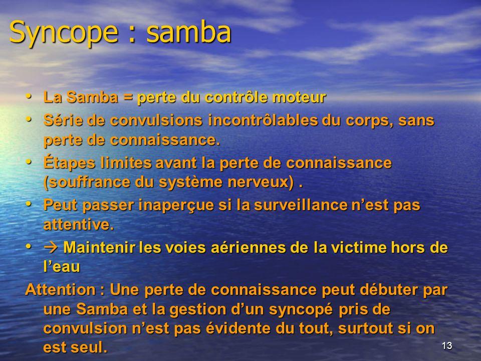 Syncope : samba La Samba = perte du contrôle moteur