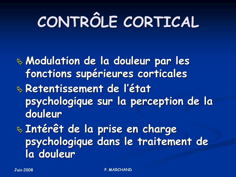 CONTRÔLE CORTICAL Modulation de la douleur par les fonctions supérieures corticales.